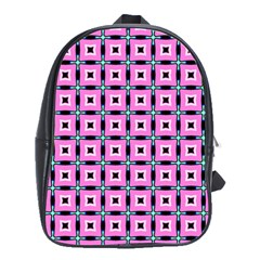 Pattern Pink Squares Square Texture School Bag (large)