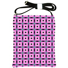 Pattern Pink Squares Square Texture Shoulder Sling Bags by BangZart