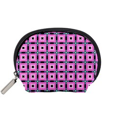 Pattern Pink Squares Square Texture Accessory Pouches (small)