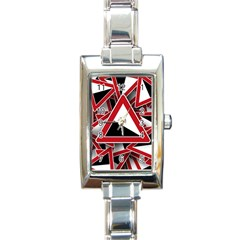 Road Sign Auto Gradient Down Below Rectangle Italian Charm Watch