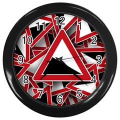 Road Sign Auto Gradient Down Below Wall Clocks (black)