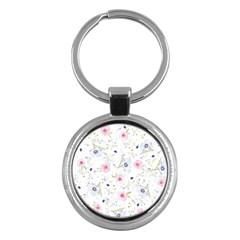 Floral Pattern Background Key Chains (round)