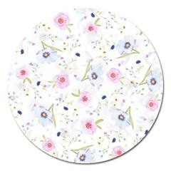 Floral Pattern Background Magnet 5  (round)
