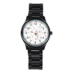 Floral Pattern Background Stainless Steel Round Watch