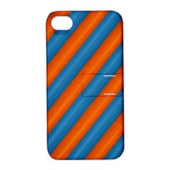 Diagonal Stripes Striped Lines Apple Iphone 4/4s Hardshell Case With Stand