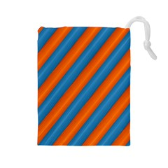 Diagonal Stripes Striped Lines Drawstring Pouches (large)