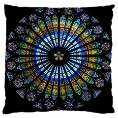 Rose Window Strasbourg Cathedral Large Cushion Case (two Sides) by BangZart