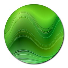 Green Wave Background Abstract Round Mousepads