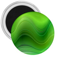Green Wave Background Abstract 3  Magnets by BangZart