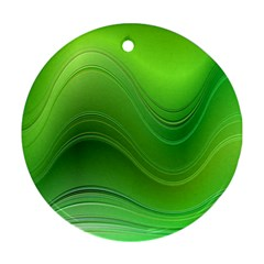 Green Wave Background Abstract Ornament (round)