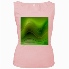 Green Wave Background Abstract Women s Pink Tank Top
