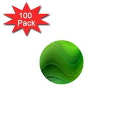 Green Wave Background Abstract 1  Mini Buttons (100 Pack)