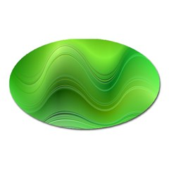 Green Wave Background Abstract Oval Magnet