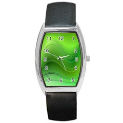 Green Wave Background Abstract Barrel Style Metal Watch