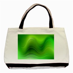 Green Wave Background Abstract Basic Tote Bag