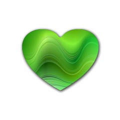 Green Wave Background Abstract Rubber Coaster (heart)
