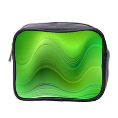 Green Wave Background Abstract Mini Toiletries Bag 2 Side