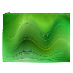 Green Wave Background Abstract Cosmetic Bag (xxl)