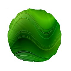 Green Wave Background Abstract Standard 15  Premium Round Cushions by BangZart