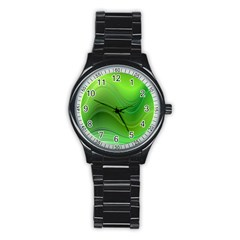 Green Wave Background Abstract Stainless Steel Round Watch