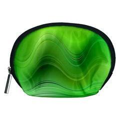 Green Wave Background Abstract Accessory Pouches (medium)