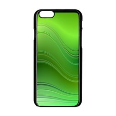 Green Wave Background Abstract Apple Iphone 6/6s Black Enamel Case