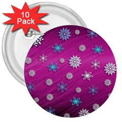 Snowflakes 3d Random Overlay 3  Buttons (10 Pack)  by BangZart