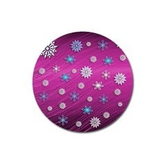Snowflakes 3d Random Overlay Magnet 3  (round)