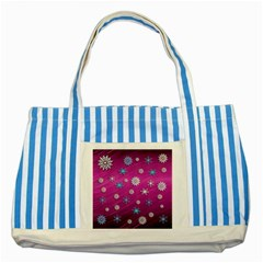 Snowflakes 3d Random Overlay Striped Blue Tote Bag