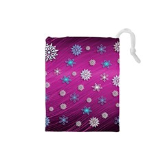 Snowflakes 3d Random Overlay Drawstring Pouches (small)
