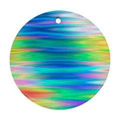 Wave Rainbow Bright Texture Ornament (round)