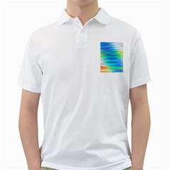 Wave Rainbow Bright Texture Golf Shirts