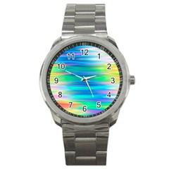 Wave Rainbow Bright Texture Sport Metal Watch