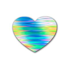Wave Rainbow Bright Texture Rubber Coaster (heart)