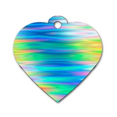 Wave Rainbow Bright Texture Dog Tag Heart (one Side)