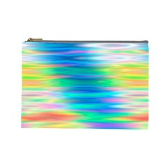 Wave Rainbow Bright Texture Cosmetic Bag (large)