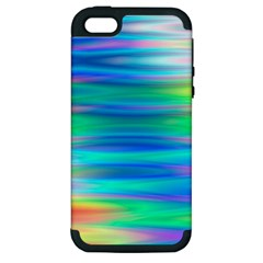 Wave Rainbow Bright Texture Apple Iphone 5 Hardshell Case (pc+silicone)
