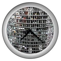 Skyscraper Glass Facade Offices Wall Clocks (silver)