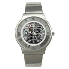 Skyscraper Glass Facade Offices Stainless Steel Watch