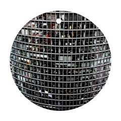 Skyscraper Glass Facade Offices Round Ornament (two Sides)