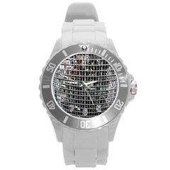 Skyscraper Glass Facade Offices Round Plastic Sport Watch (l)