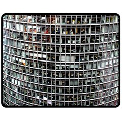 Skyscraper Glass Facade Offices Double Sided Fleece Blanket (medium)