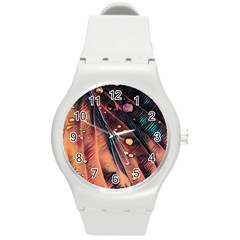 Abstract Wallpaper Images Round Plastic Sport Watch (m)