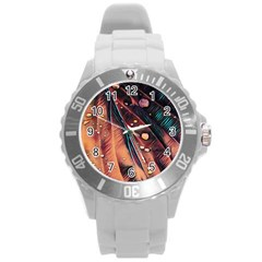 Abstract Wallpaper Images Round Plastic Sport Watch (l)