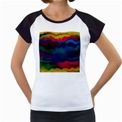 Watercolour Color Background Women s Cap Sleeve T