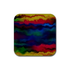 Watercolour Color Background Rubber Coaster (square)