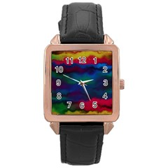 Watercolour Color Background Rose Gold Leather Watch