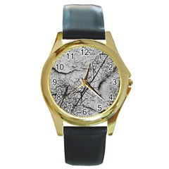 Abstract Background Texture Grey Round Gold Metal Watch