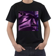 Shiny Purple Silk Royalty Men s T Shirt (black) (two Sided)