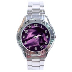 Shiny Purple Silk Royalty Stainless Steel Analogue Watch